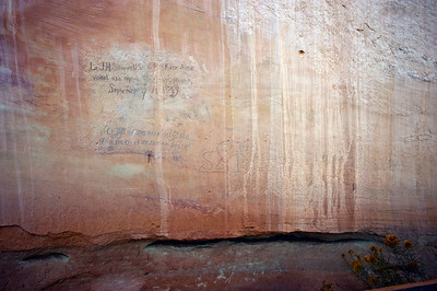 "North America, USA, New Mexico, El Morro National Monument, Bluff-side Inscriptions. Stop 23. Lt. J.H. Simpson the first English speaking person to inscribe in September 1849.  Below a  Spanish inscription from 1699,  ""I am of the hand [that is, written by] of Felipe de Arellano on the 16th of September, soldier.""  To The right  a Spanish inscription ""On the 23rd of March [ or May]  of the year 1632 we travel to avenge the death of Father Letrado-Lujan"""