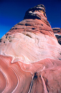 Wave Tower of Wind and water eroded sandstone in Coyote Buttes North,Paria Canyon Vermillion Cliffs Wilderness, Coconino County , AZ