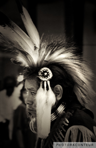"""Wise Man"" ~ An elder Native American wearing a traditional porcupine headpiece with Eagle feathers during a ceremonial dance."