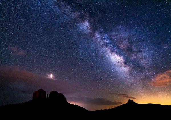 Vibrant Milky Way over Castle Rock, Sedona, AZ