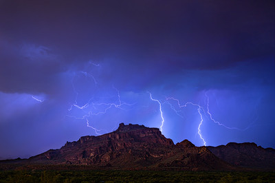 Monsoon Lightning Storm over Red Mountain