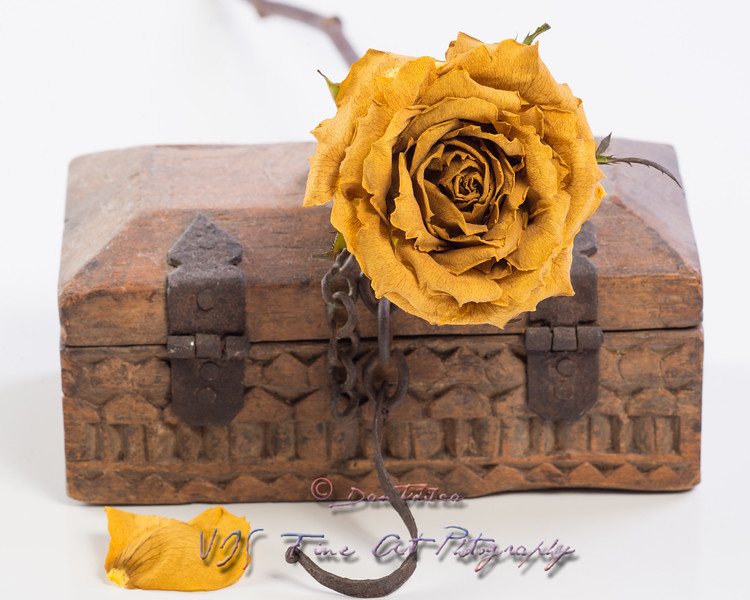 Rose and wooden box