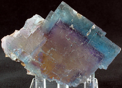 """Fluorite construction that displays beautiful translucence and a """"phantom crystal"""" in the inner region; 6.8x 5x 4.8 cm."""
