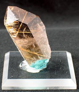 Rutilized Quartz (quartz crystal with inclusions of rutile); 4.7x 2.5x 1.7 cm.