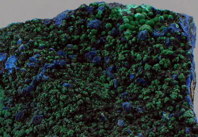 malachite on azurite close-up