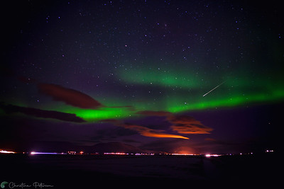 Shooting Star & Aurora Borealis, Northern Iceland