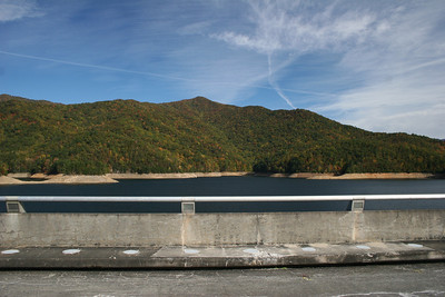 Fontana Dam is a hydroelectric dam on the Little Tennessee River in Swain and Graham counties, North Carolina, USA. Fontana Lake is a reservoir impounded by Fontana Dam on the Little Tennessee River. Photography By Lloyd R. Kenney III (C) 2009 All Rights Reserved.