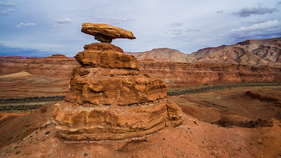 Drone shot of Balancing Mexican Hat Rock, Utah