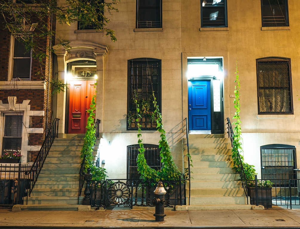 New York City - Night Lights and Colorful Doors