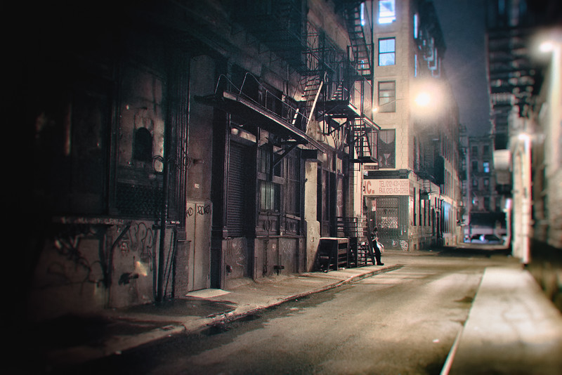 New York  City at Night- Alley and Fire Escapes