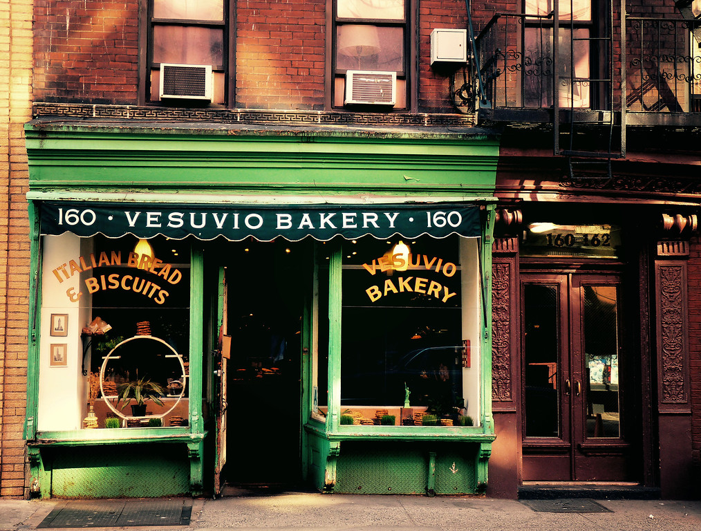 <h2>Vesuvio Bakery - Soho - New York City</h2> - By Vivienne Gucwa  This beautiful storefront is around 100 years old and while the original bakery no longer owns the space, the current owners have opted to maintain the old historic storefront since it is such a vital part of the landscape of the neighborhood it sits in, Soho, New York City.  ---