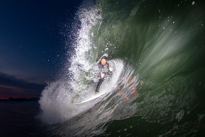 Surfing  at Bay Head,New Jersey,USA  Date: May 17, 2014 Time: 08:17.PM Model: Canon EOS 7D Lens: EF8-15mm f/4L FISHEYE USM