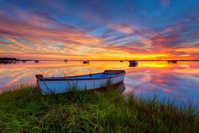 Snow shore sunrise Boat