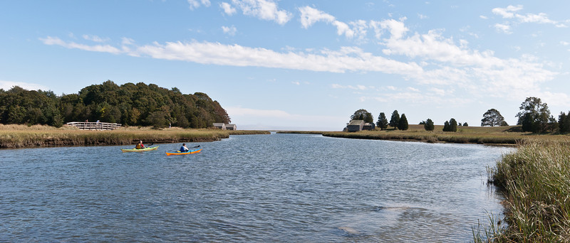Salt Pond river leading to the ocean in Eastham MA.