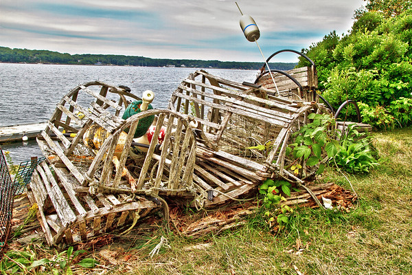 Old Lobster Traps on Cabbage Island, Maine