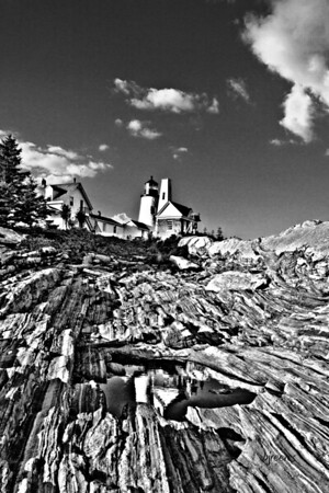 Black and White Pemaquid Lighthouse in Maine.