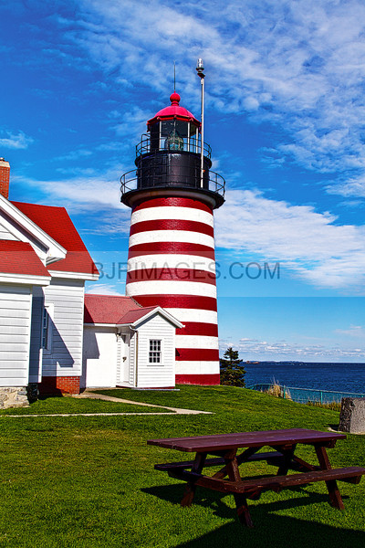 West Quoddy Lighthouse, the easternmost point in the US, near Lubec, Maine.