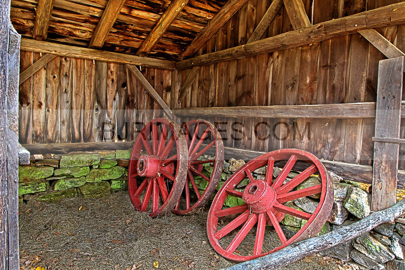 Old wagon wheels in Old Sturbridge Village.