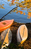Canoes at Lake Champlain - Vermont, USA