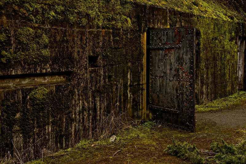 Remnants of Battery Powell, part of the defensive fortification at Fort Worden near Port Townsend, Washington. The fort was constructed in the early 1900's as part of the Endicott project to upgrade US coastal defenses.<br /> ©Carl Clark