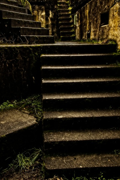 Stairs at Battery Tolles, part of the defensive fortification at Fort Worden near Port Townsend, Washington. The fort was constructed in the early 1900's as part of the Endicott project to upgrade US coastal defenses.<br /> ©Carl Clark