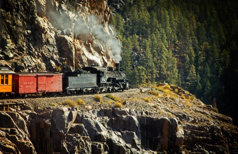 We were fortunate to be in an open car near the end of the train to capture shots like this. The Durango-Silverton train.<br /> Photo © Cindy Clark