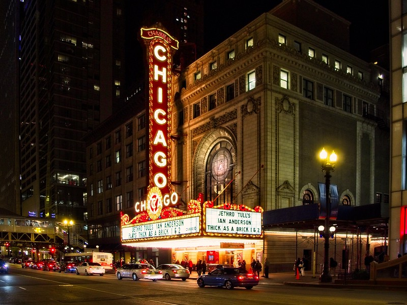 The venerable Chicago Theater, one of 3 venues for the Jethro Tull tour in 2012. The show was extraordinarily phenomenal!<br /> ©Carl Clark