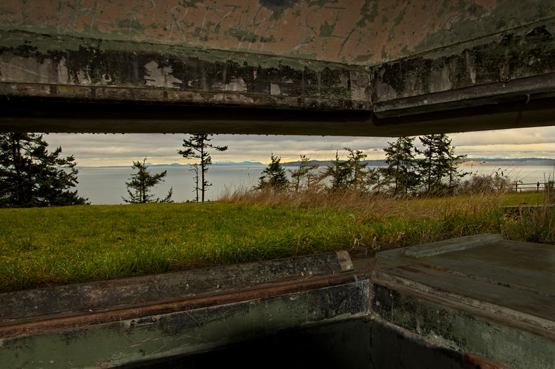 The view to Puget Sound from Battery Tolles, part of the defensive fortification at Fort Worden near Port Townsend, Washington. The fort was constructed in the early 1900's as part of the Endicott project to upgrade US coastal defenses.<br /> ©Carl Clark