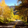 Beautiful road on the way to Maroon Bells in Colorado
