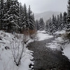 Creek at Vail's Covered Bridge on Snowy day