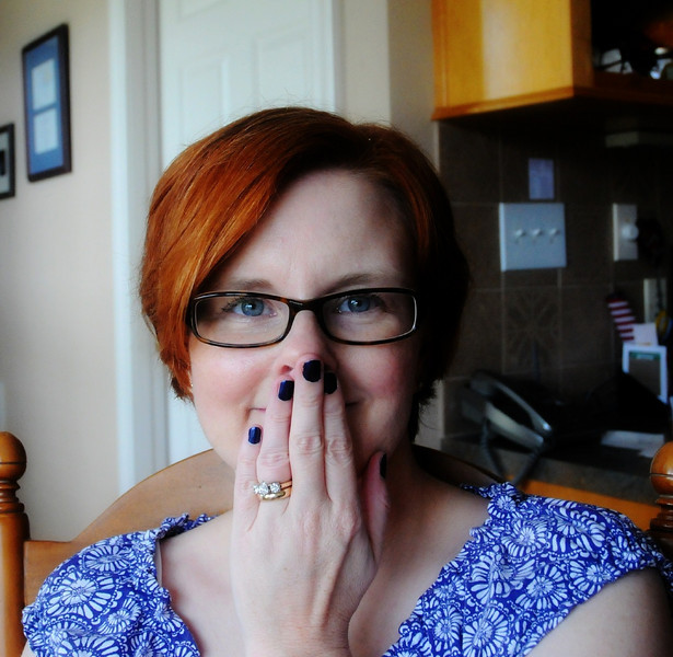 A silly shot.  Like my navy polish on my nails?  heehee.
