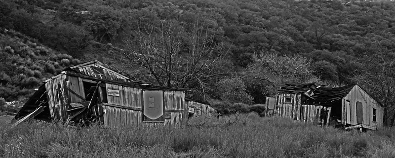 Ghost Town of New Idria in Black and White (HDR)