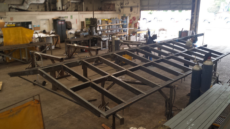 Test assembly of skylight frame in the shop.