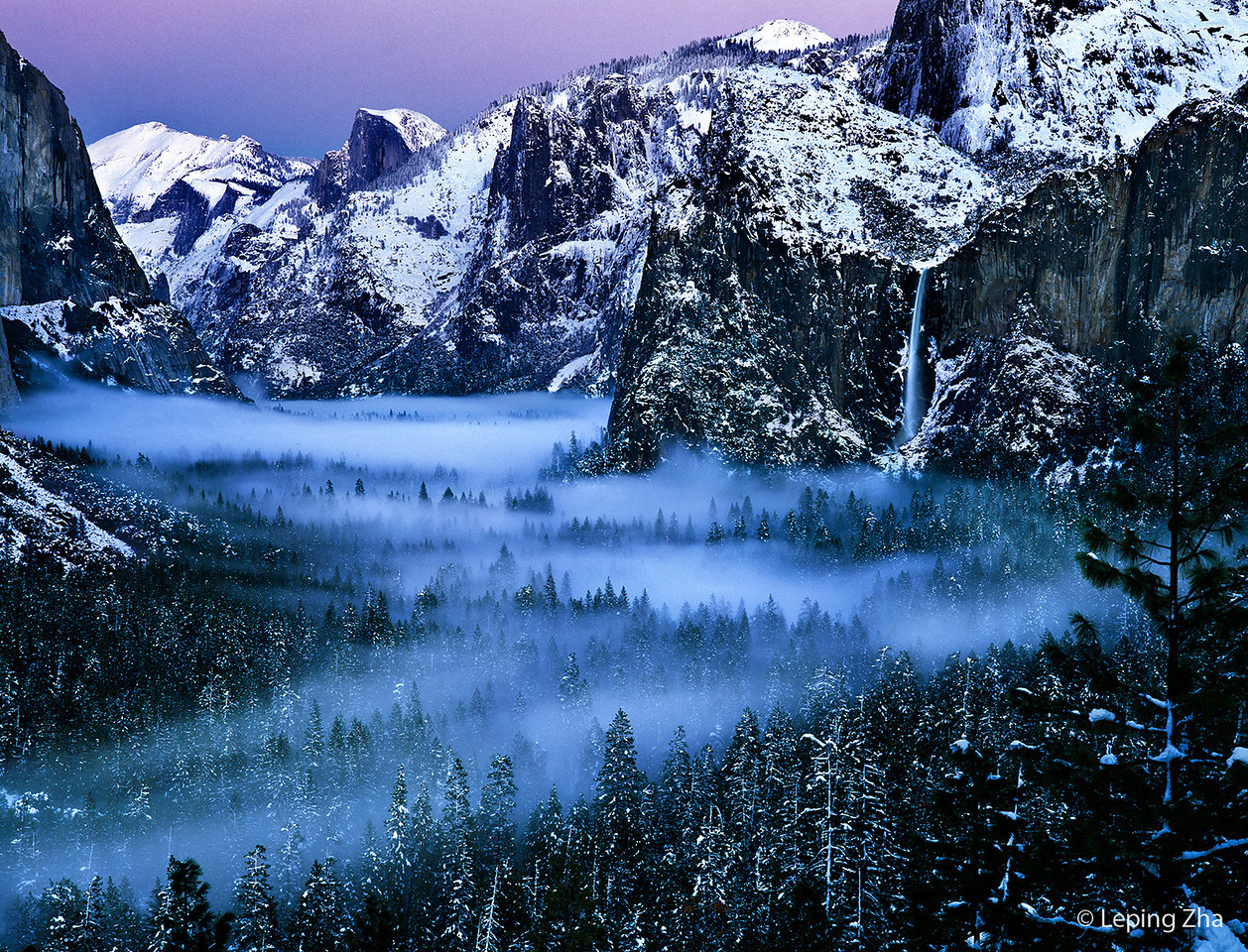 "Yosemite in Winter on an amazing morning, taken by <a href=""http://lepingzha.smugmug.com/"">a great photographer</a>."