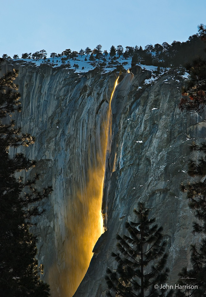"Rare image of Horsetail falls at Sunset in the winter.  <a href=""http://www.jharrisonphoto.com/gallery/2747559_ghkMc#566278158_9A4JC"">John Harrison</a> describes how he did it in his gallery."