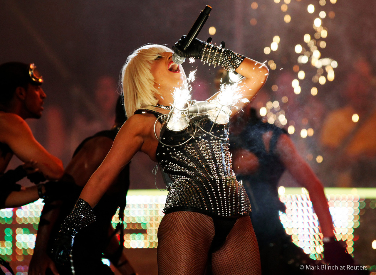 Lady Gaga performs as pyrotechnics go off from her bustier during the 2009 MuchMusic Video Awards in Toronto June 21, 2009. REUTERS/Mark Blinch