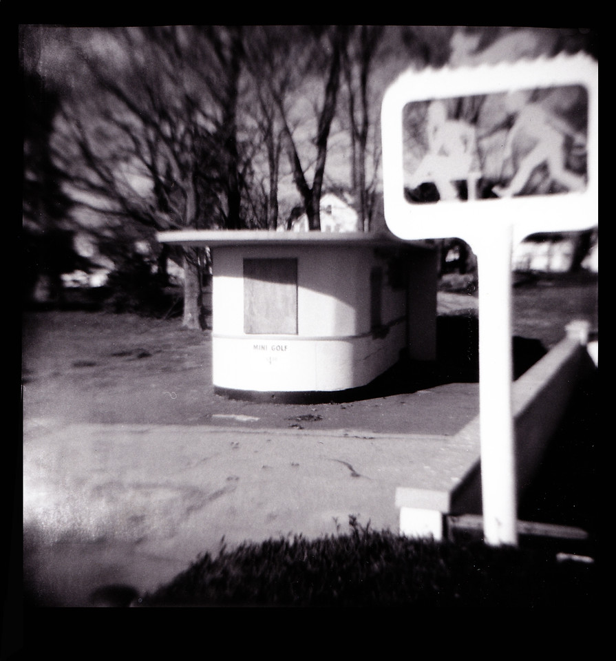 Mini Golf hut and OB sign with Holga