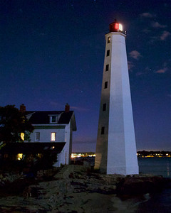 New London Harbor Light at Night