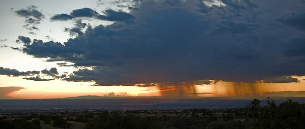 Two cells dump on the west mesa of Albuquerque Outline of Mt Taylor in Grants is left of center