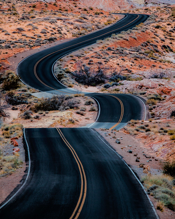 The Ride - Curvy road in the Valley of Fire outisde Las Vegas