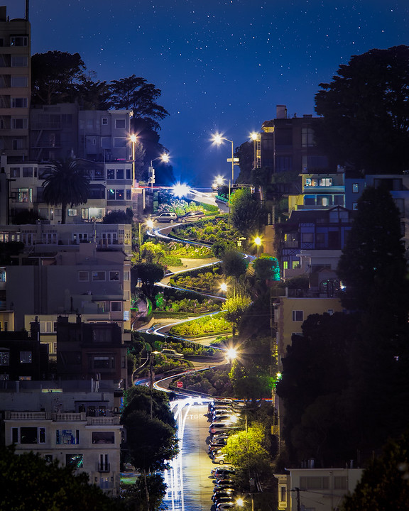 Lombard with Light Trails - Running the Gauntlet