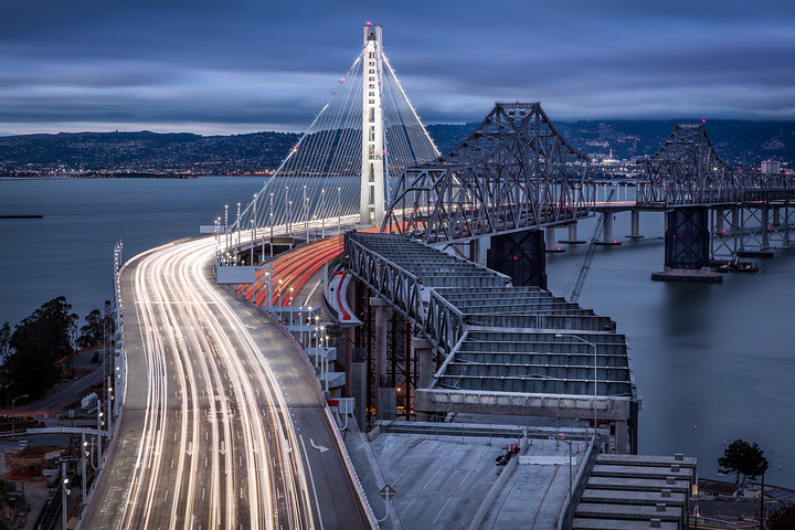 San Francisco - Oakland Bay Bridge with light trails at night