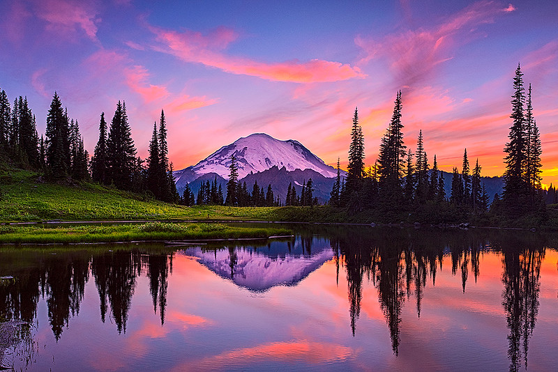 #302 Tipsoo Lake Sunset, Mt. Rainier NP, WA