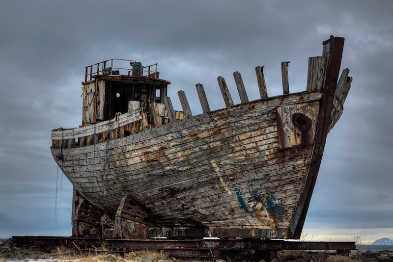 Heavily Weathered Old Fishing Boat - Iceland