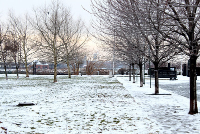 park covered with snow.