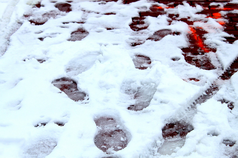 white footsteps.