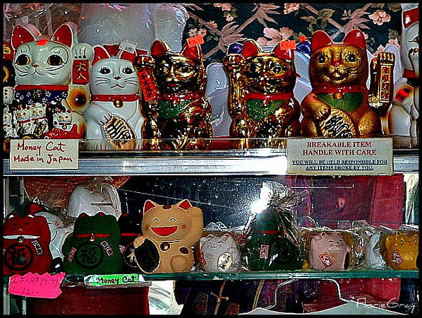 Evening in Chinatown <br /> Note the eclectic collection of Money Cats, made in Japan!!!