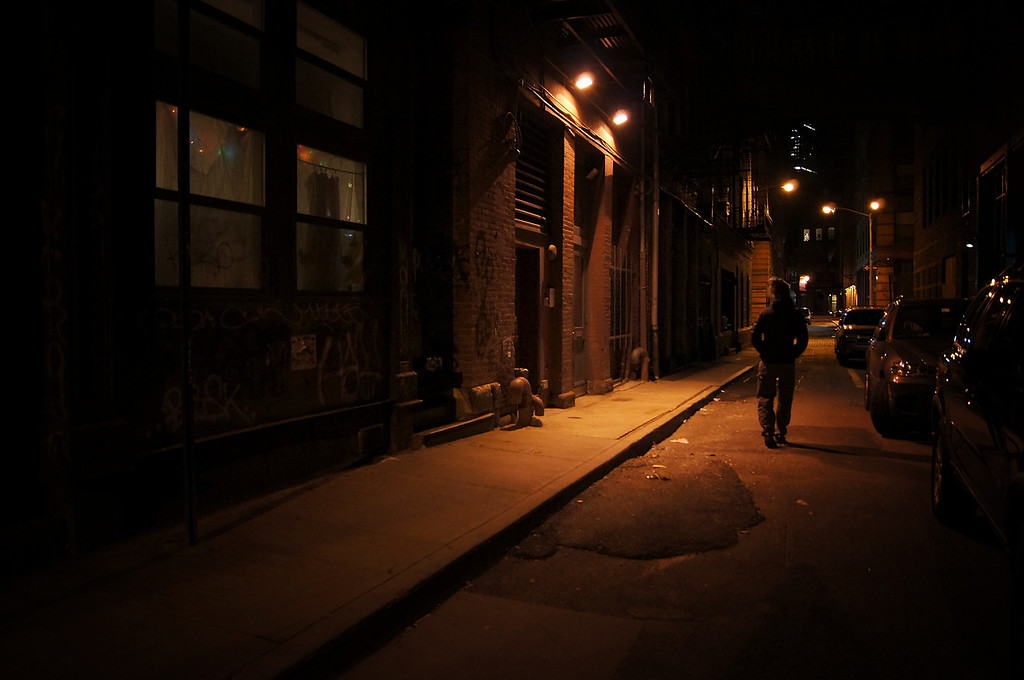 <h2>These City Streets - New York City Alley at Night</h2> - By Vivienne Gucwa  These city streets: at night they pulsate through our dreams branching out like dendrites sending their synaptic transmissions into our collective memory.  ---  Tribeca, New York City