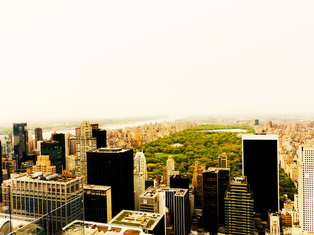 <h2>Central Park From Above and the New York City Skyline</h2> - By Vivienne Gucwa  When you look out above the New York City skyline in midtown Manhattan, it's incredible to observe just how much space Central Park occupies. On a hazy day, it is as if the rest of the city disappears into the haze, infinite in all its dense glory.  This view is facing north, looking towards upper Manhattan. Central Park is 2.5 miles (4 km) long between 59th Street (Central Park South) and 110th Street (Central Park North), and is 0.5 miles (0.8 km) wide between Fifth Avenue and Central Park West.  The park initially opened in 1857, on 843 acres of city-owned land. In 1858, Frederick Law Olmsted and Calvert Vaux won a design competition to improve and expand the park with a plan they entitled the Greensward Plan. Construction began the same year and was completed in 1873. The park, which receives approximately thirty-five million visitors annually, is the most visited urban park in the United States.  A long time ago I read that the real estate value of Central Park was estimated to be around $528,000,000,000. But really, it's priceless in terms of the value it provides the residents of New York City and the many visitors that visit every year.   ---