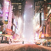 New York City - Snow  - Times Square  on  Winter Night